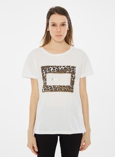 Loves You Baskılı Taş Detaylı T-Shirt Beyaz